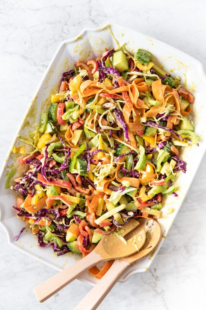 Big plate of vegan rainbow coleslaw