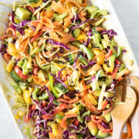 Plate of rainbow coleslaw.
