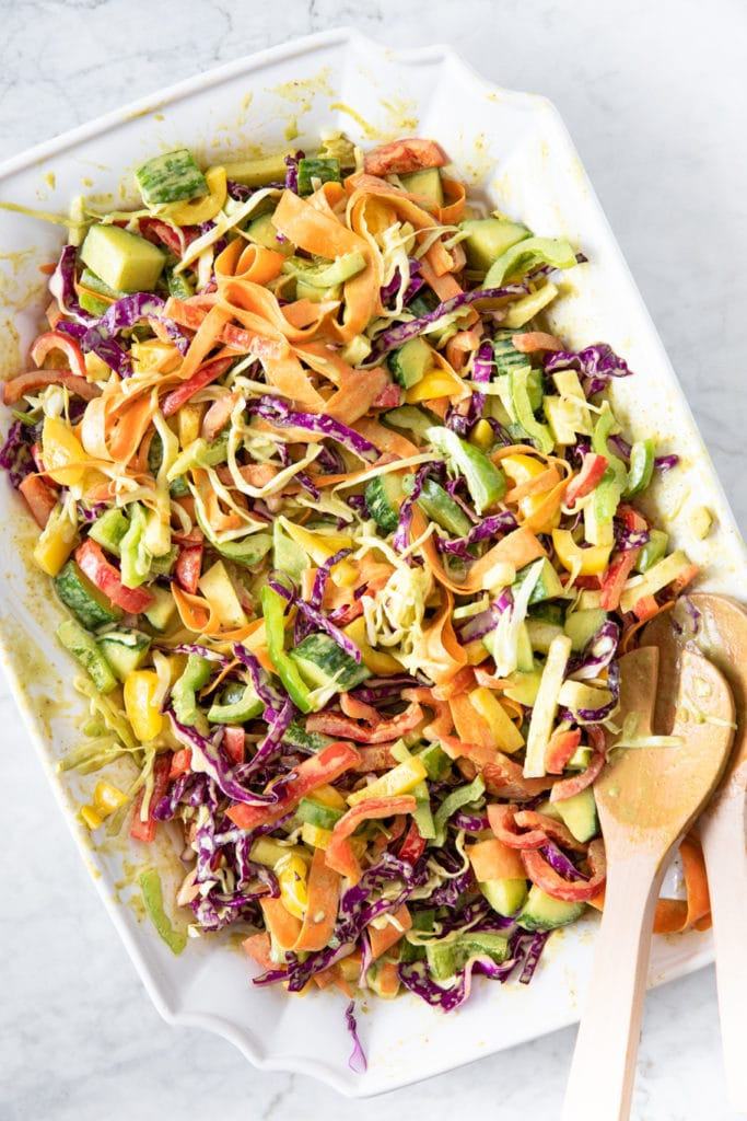 Plate of rainbow coleslaw.