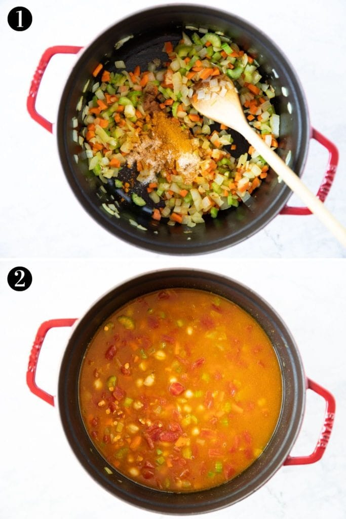 Two photos showing steps to make Moroccan Harira stew. Photo 1 - pot with onion, carrot, celery and spices; Photo 2 - after adding crushed tomatoes, chickpeas, lentils, rice and vegetable stock