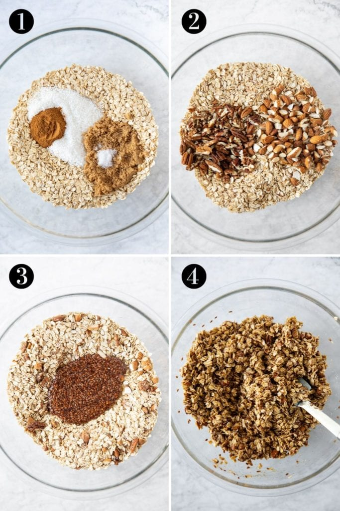 Steps showing how to prepare granola misture using oats, coconut, cinnamon, brown sugar, salt, pecans, almonds and pre-soaked flaxseed.