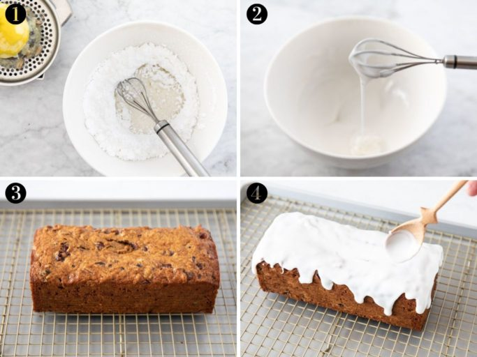 photos showing how to make lemon glaze using powdered sugar and freshly squeezed lemon juice; pouring lemon glaze on banana cranberry pecan bread