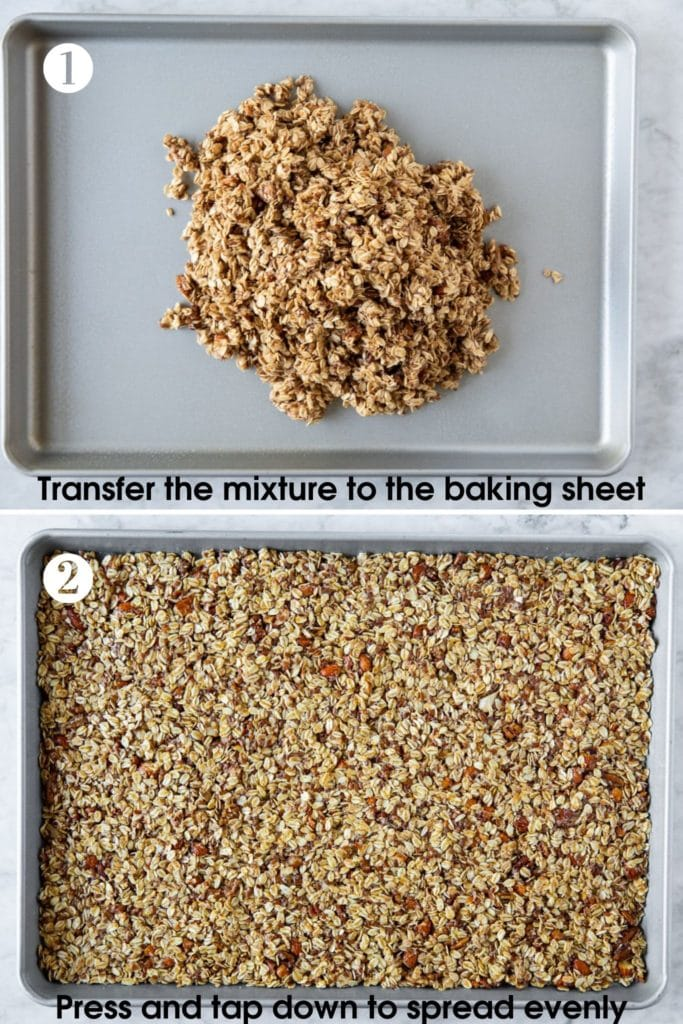 2 steps showing how to spread and press granola mixture on a baking sheet before baking