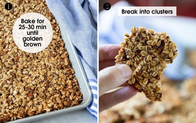 Baking tray with big-cluster granola. Made with oats, pecans, almonds, honey and flaxseed.