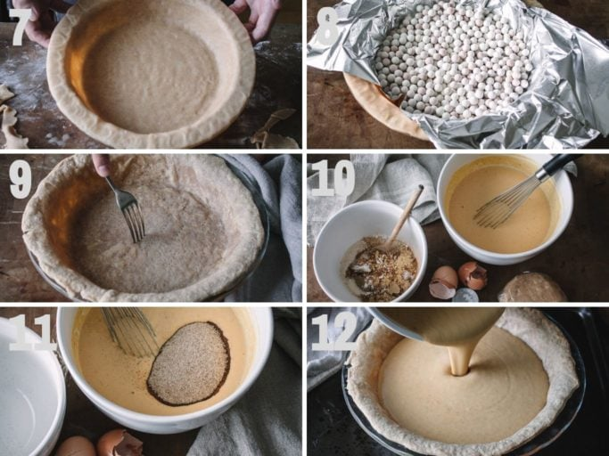 Steps to make crust and filling for pumpkin pie with spelt flour crust