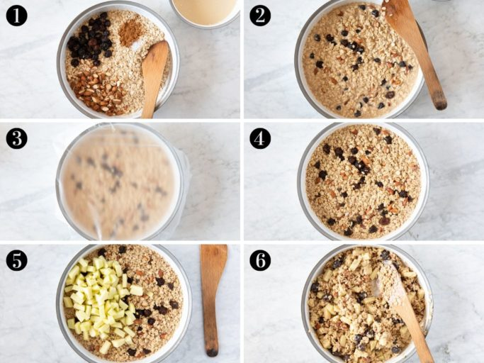 Six steps showing how to make Bircher Muesli (overnight oats), using old fashioned rolled oats, dried cherries, almonds, cinnamon, salt, dairy-free milk, dairy-free yogurt, orange juice, maple syrup and diced apples.