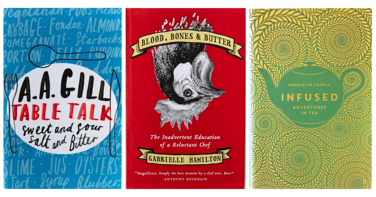 Three cooking memoirs book covers: Table Talk, Blood, Bones & Butter, and Infused