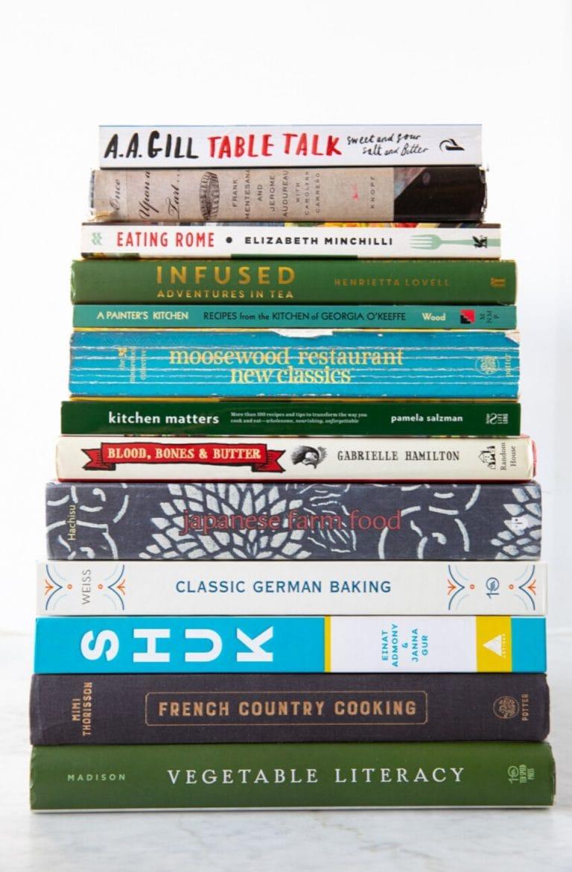 Stack of 13 cookbooks