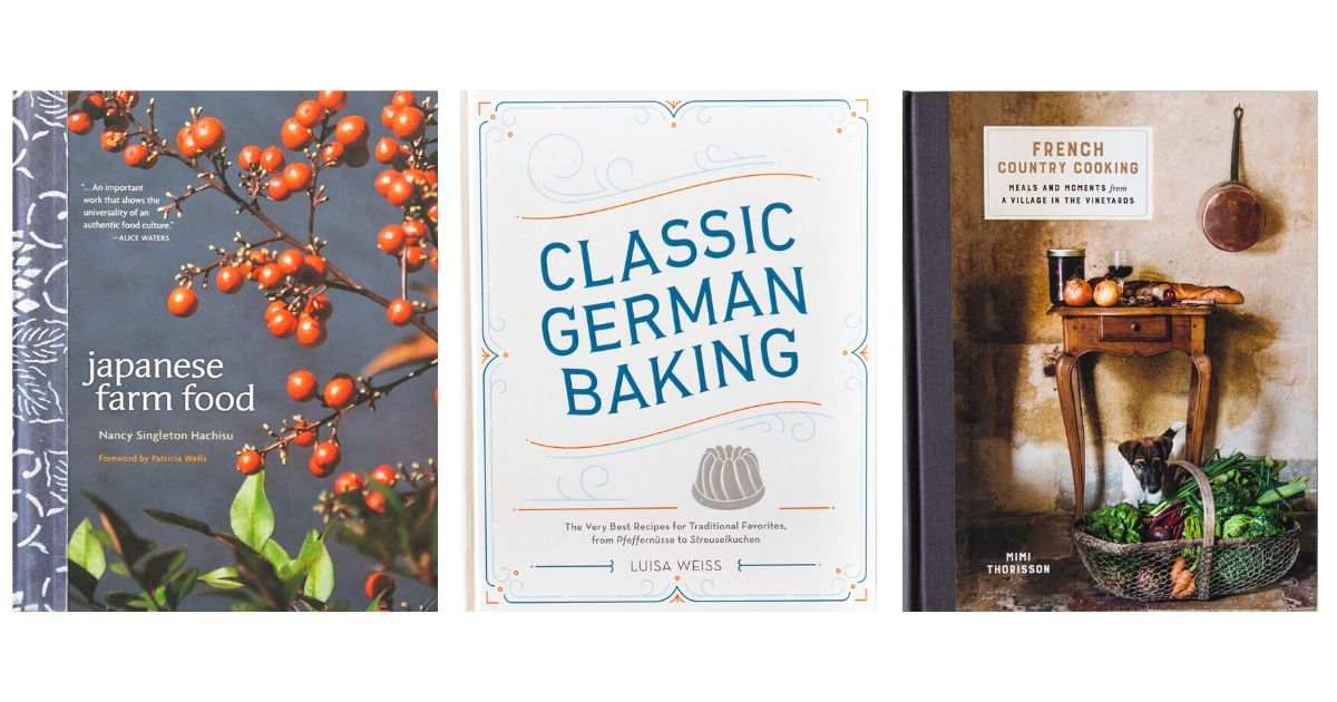 Three Book Covers, from left to right: Japanese Farm Food, Classic German Baking, French Country Cooking