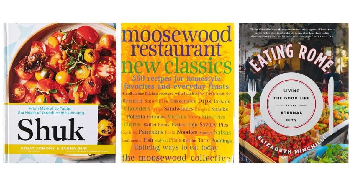 Three cookbook covers, from left to right: Shuk, Moosewood Restaurant New Classics, and Eating Rome