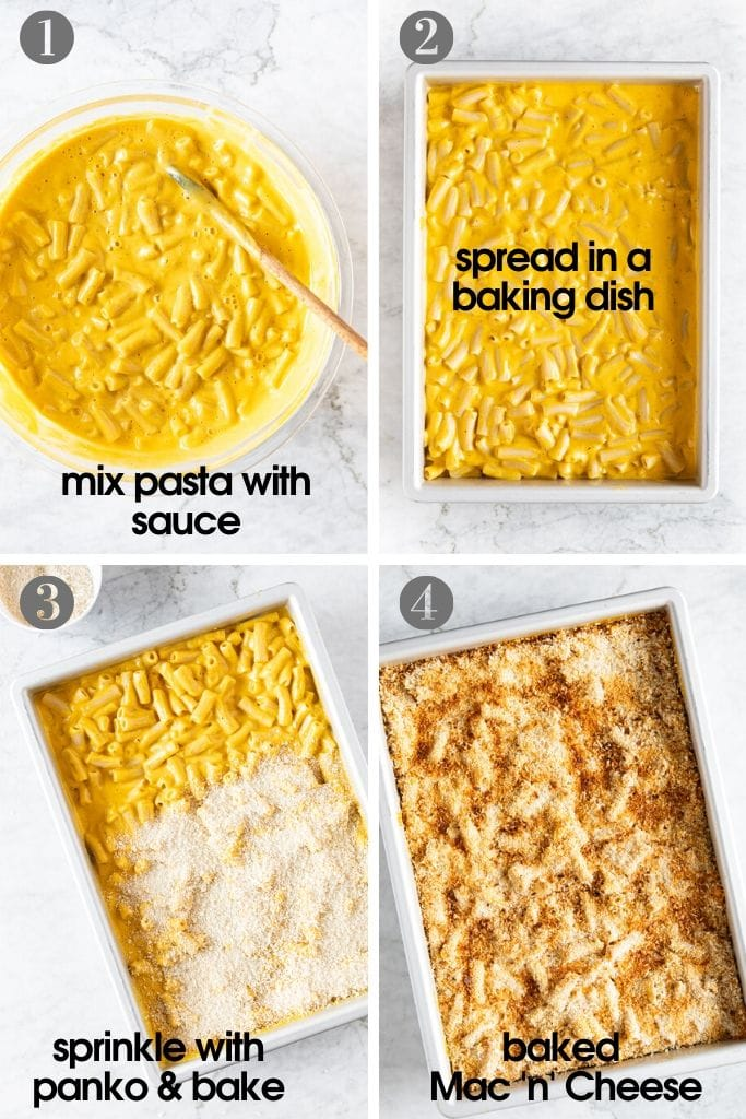 Steps showing how to make vegan mac 'n' cheese pasta