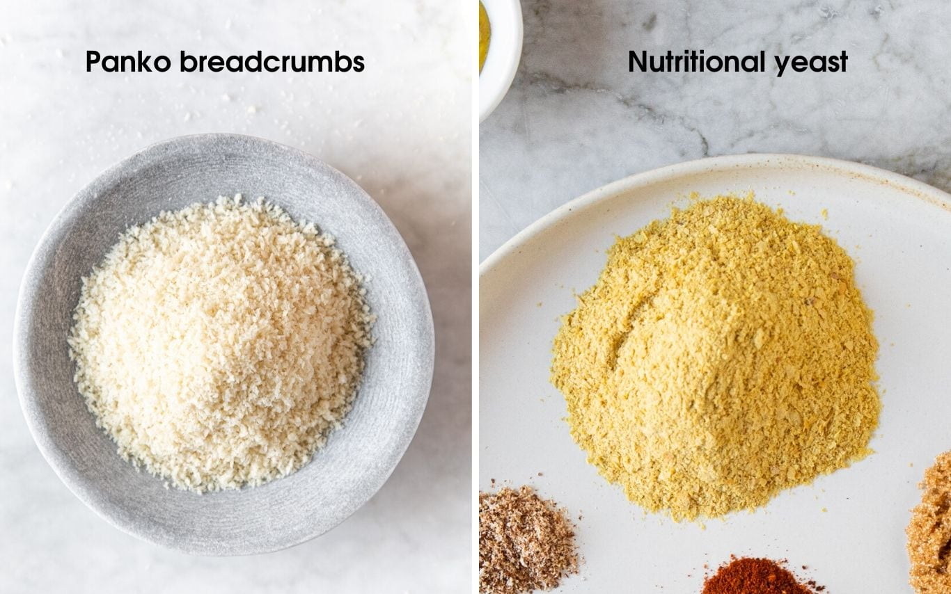 Panko breadcrumbs on the left and nutritional yeast on the right
