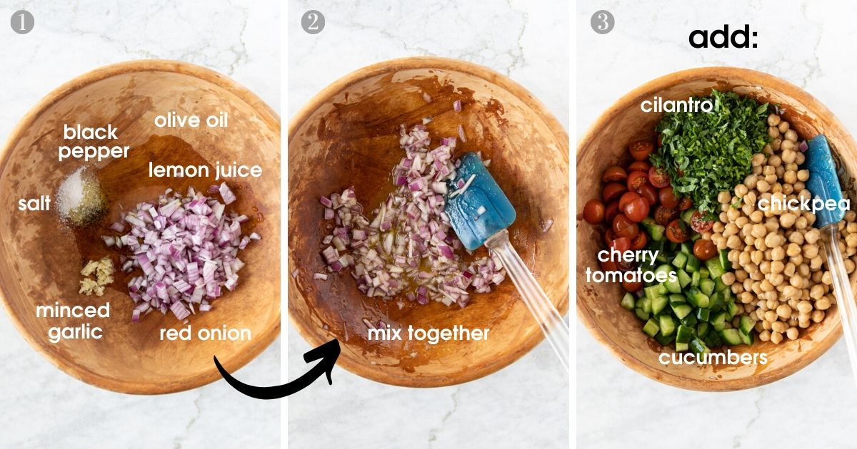 Three photos showing wooden bowl with ingredients to make Easy Chickpea Salad With Tomatoes and Cucumbers