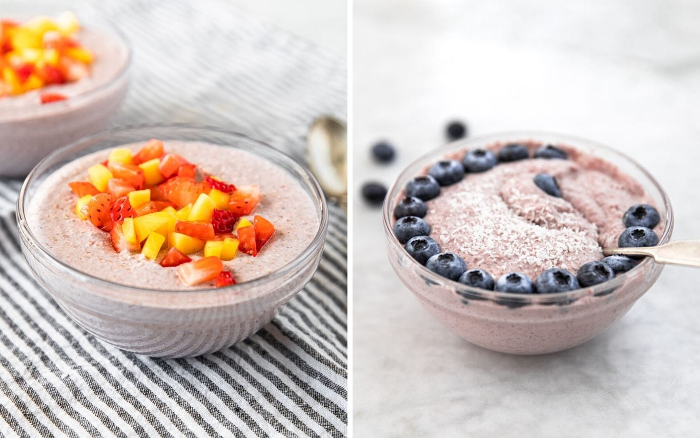bowls of vegan raw buckwheat groats porridge from very good cook blog, topped with fresh fruit and shredded coconut