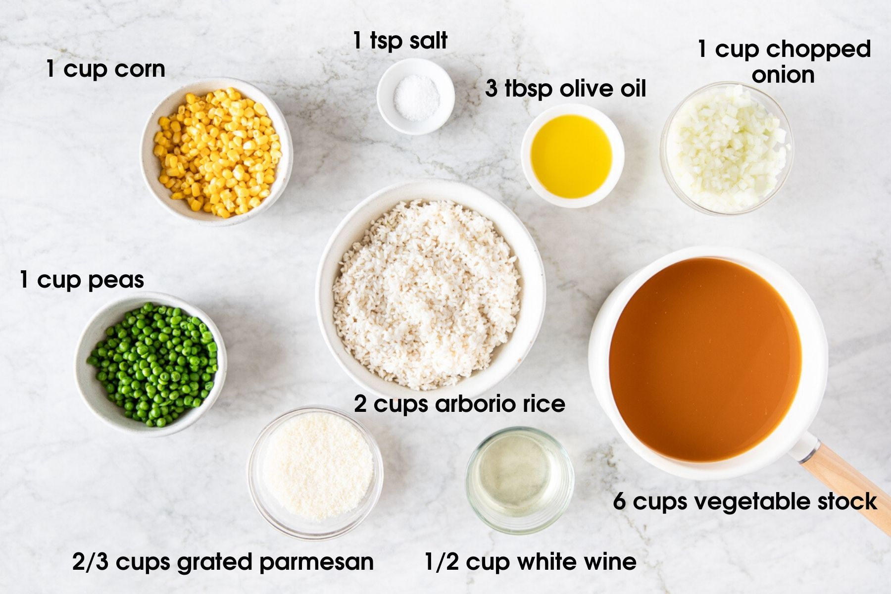 Ingredients for: Spring Risotto With Peas and Corn including corn, peas, salt, olive oil, onion, arborio rice, vegetable stock, white wine, grated parmesan.