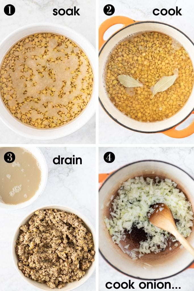 Steps to make Sweet and sour one-pot green lentils: 1-soak lentils, 2-cook lentils, 3-drain lentils, 4-cook onion