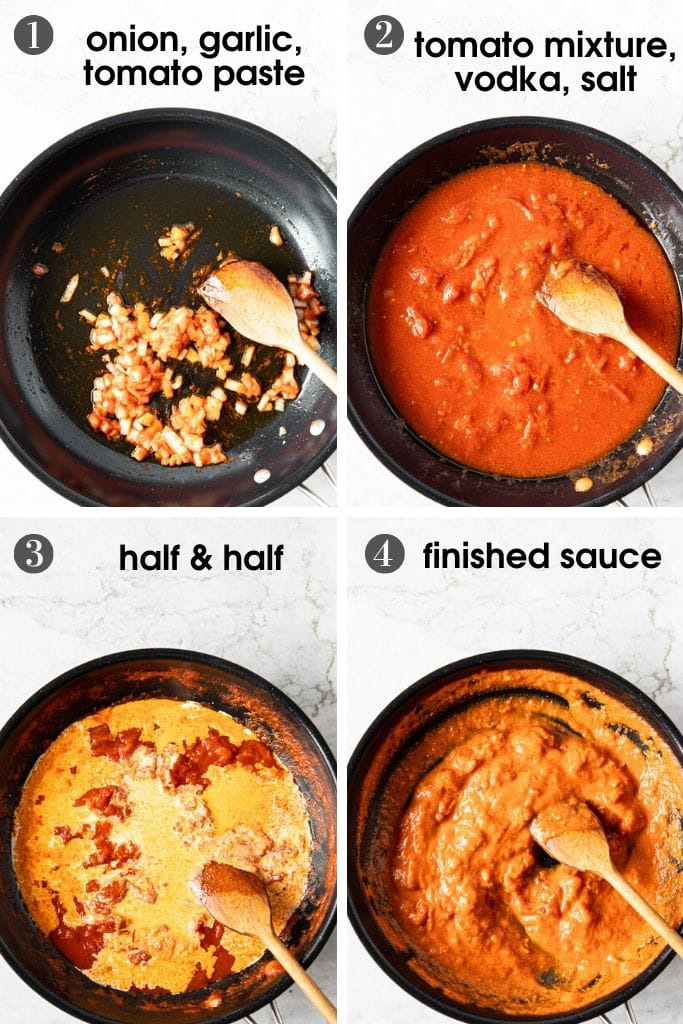 Four photos of skillet showing the Easy Creamy Penne Alla Vodka Recipe Steps