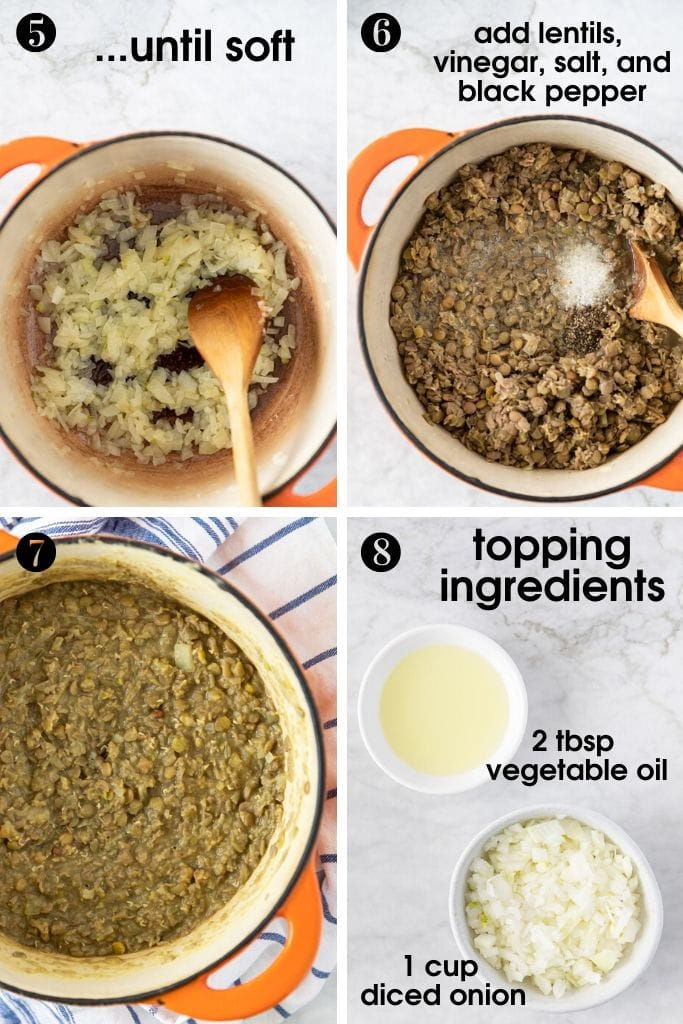 Steps to make Sweet and sour one-pot green lentils: 5-sauté onion till soft, add cooked lentils, vinegar, salt and black pepper, 7-cooked lentils in a pot, 8 - oli and onion for fried onion topping