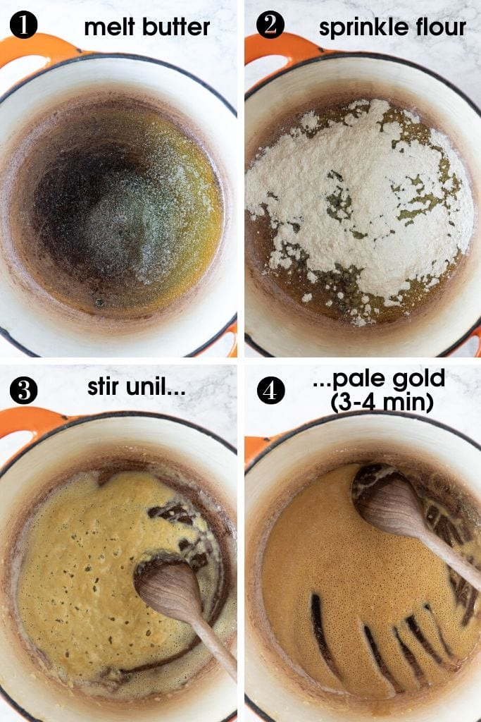 Four photos showing steps how to make roux. First melt butter in a pot, sprinkle all-purpose flour over it, and cook, constantly stirring, until pale gold, about 4 minutes