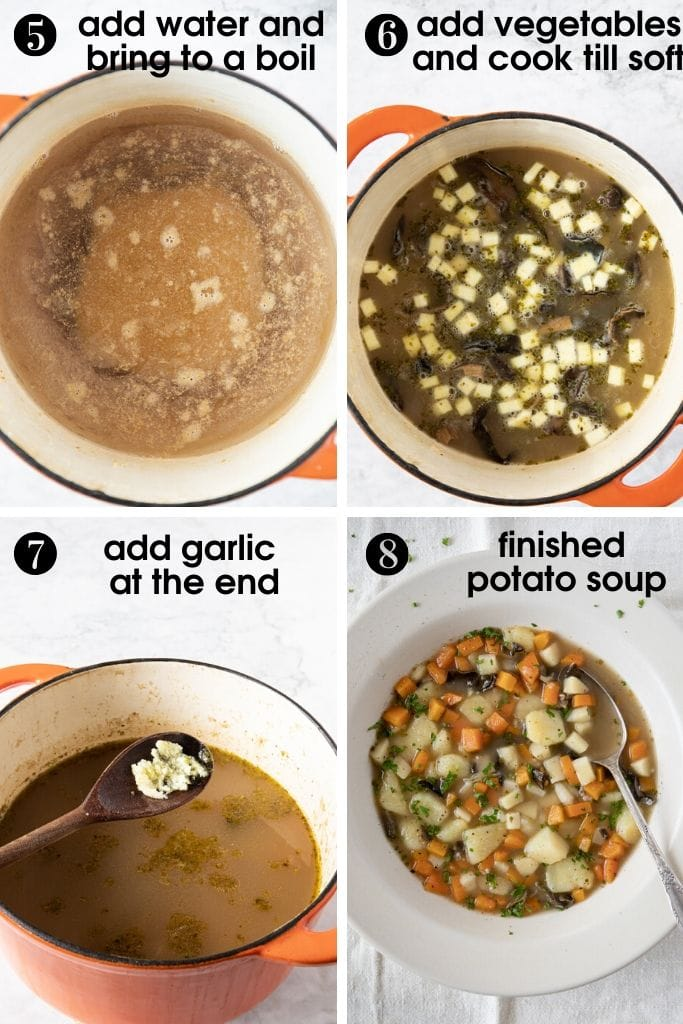 4 photos showing how to finish Chunky Czech Potato Soup (Bramboračka). Add water to roux, bring to boil, add vegetables and finish with presed garlic. Last photo shows plate with finished soup.