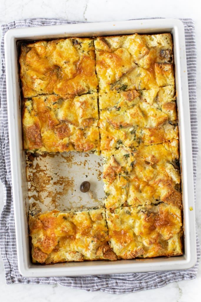 Baking pan with Mushroom Ricotta Bread Pudding (Strata)