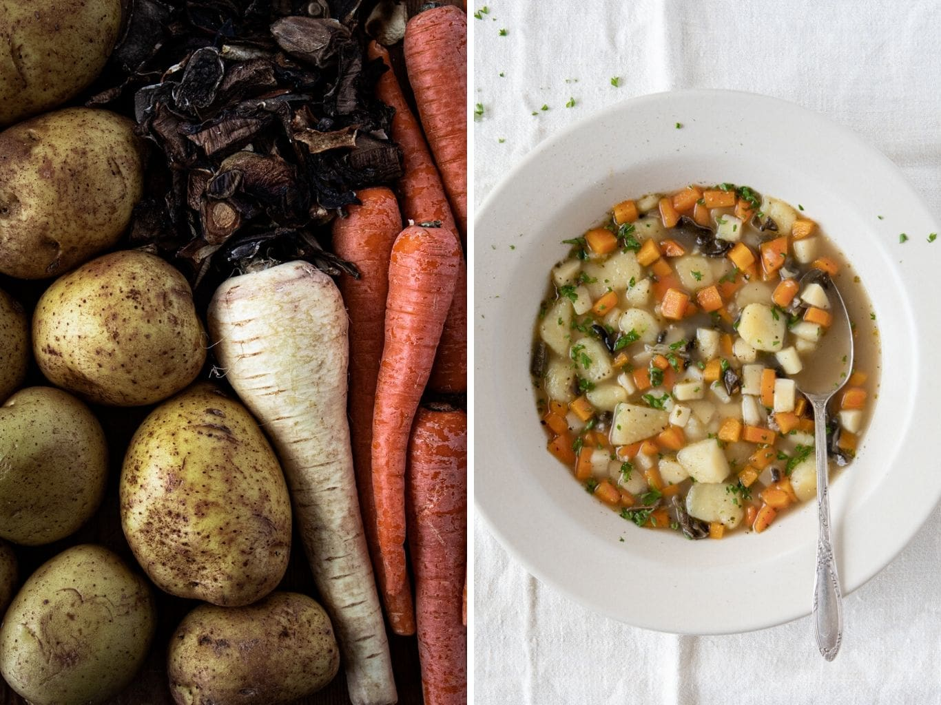 Photo dyptich. Left photo showing ingredients for chunky Czech Potato Soup (Bramboračka) including potatoes, dried porcini, carrots and parsnip. On the right is a plate with the finished soup.