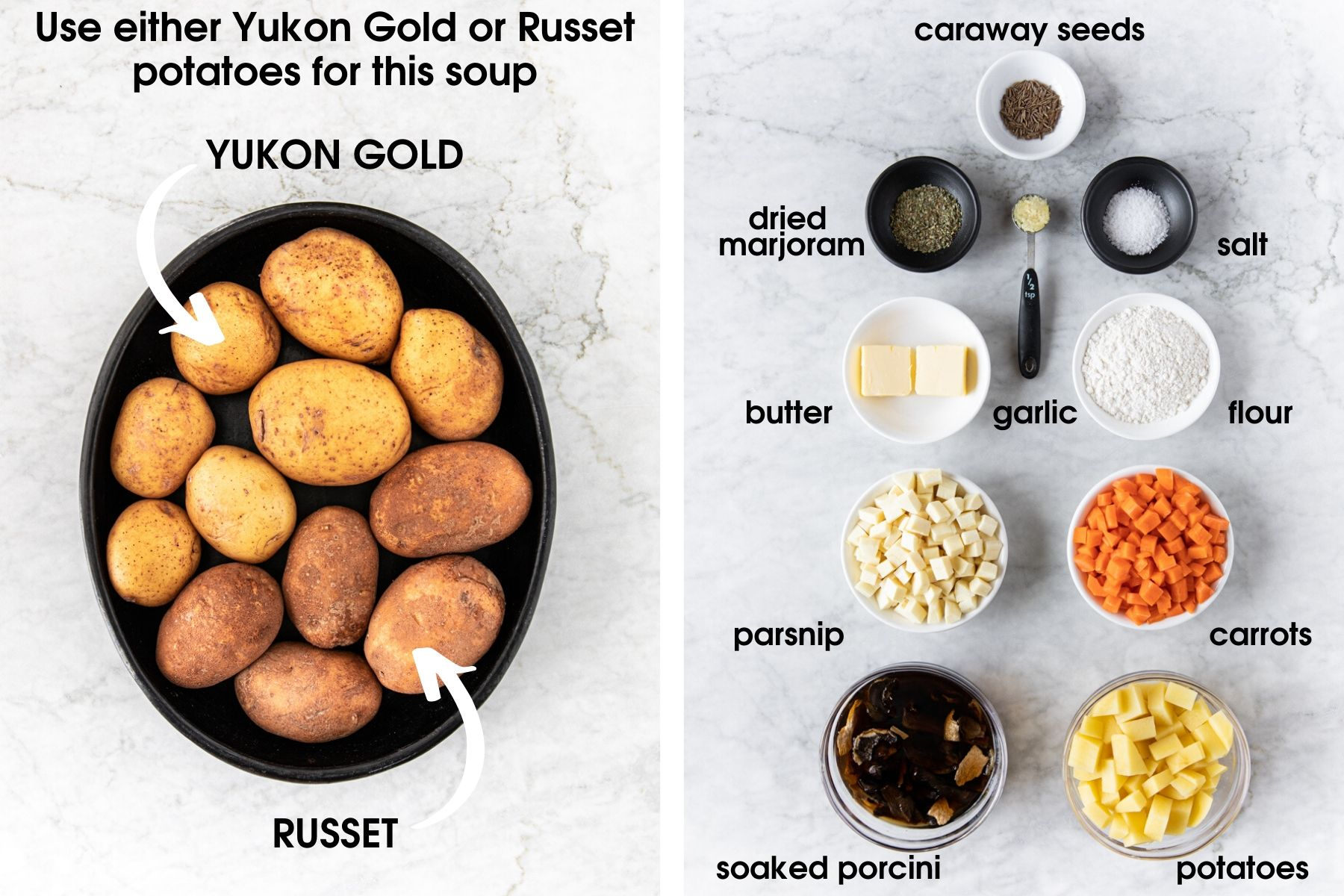 Two photos. One showing a plate with yukon gold and russet potatoes. The other photo showing ingredients to make Chunky Czech Potato Soup (Bramboračka) including: caraway seeds, dried marjoram, butter, garlic, salt, flour, carrots, parsnips, porcini, and potatoes.