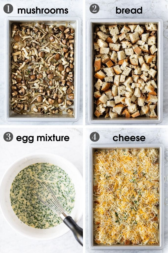 Steps to assemble a mushroom ricotta bread pudding (strata) including mushrooms, cubed bread, grated cheese and an egg/milk/ricotta mixture