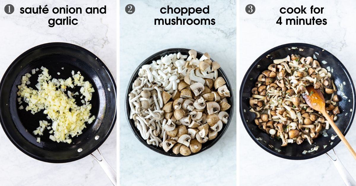 three photos showing how to saute onion, chop mushrooms, and saute mushrooms