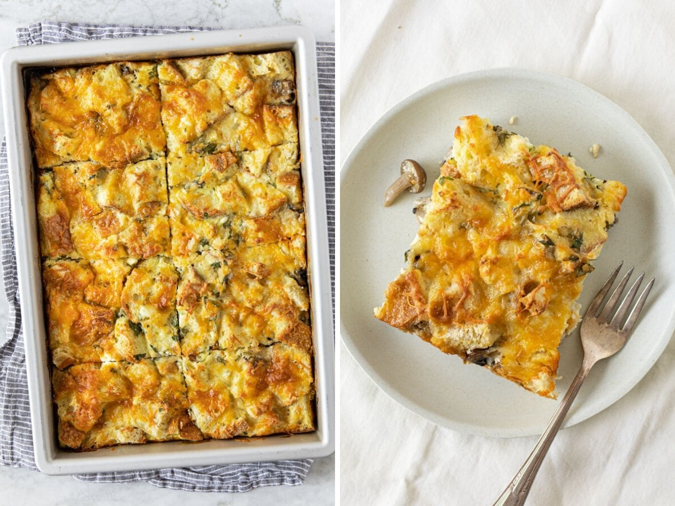 two photos showing a baking pan with mushroom ricotta bread pudding (strata) and another photo with a slice on a plate with fork