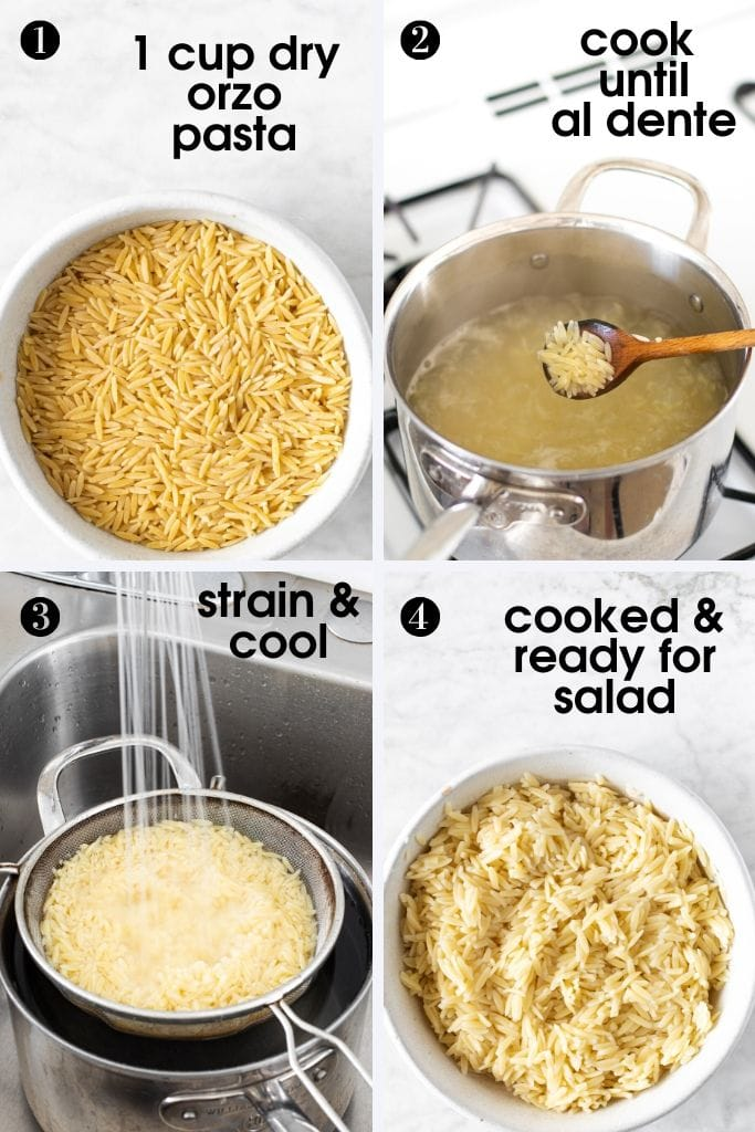 steps to make 15-Minute Orzo Pasta Salad - boil pasta al dente, strain, cool and use in a salad