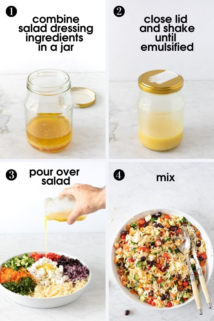 photos showing how to add salad dressing to 15-Minute Orzo Pasta Salad