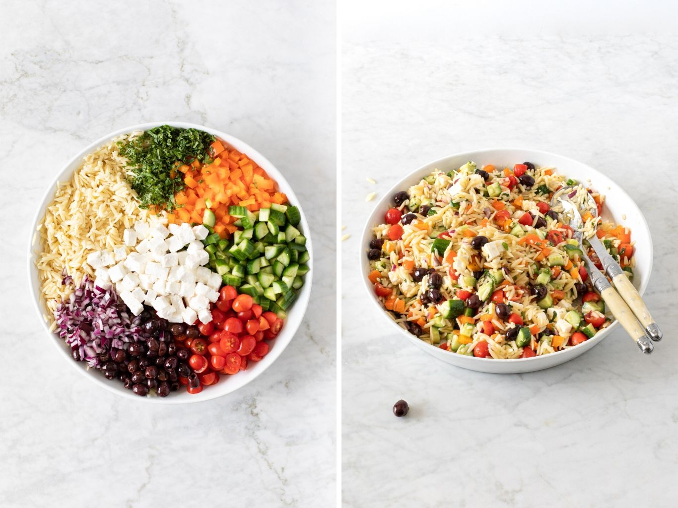 two photos showing 15-Minute Orzo Pasta Salad in a bowl. Before mixing and after mixing.