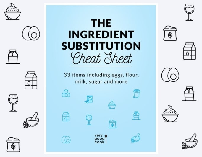 Cover Page for The Ingredient Substitution Cheat Sheet, a free .PDF download from Very Good Cook blog
