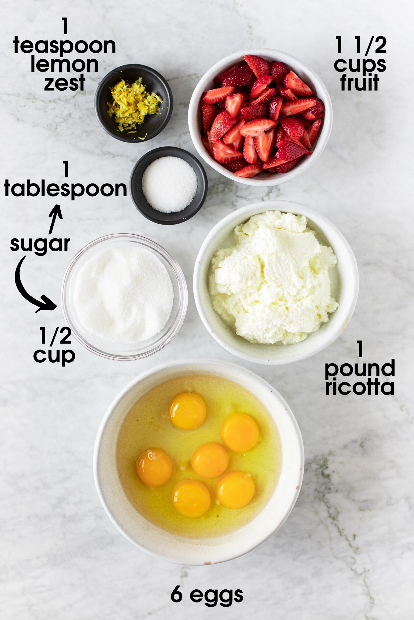 Raspberry Ricotta Soufflé ingredients: lemon zest, sugar, berries, ricotta and eggs | verygoodcook.com
