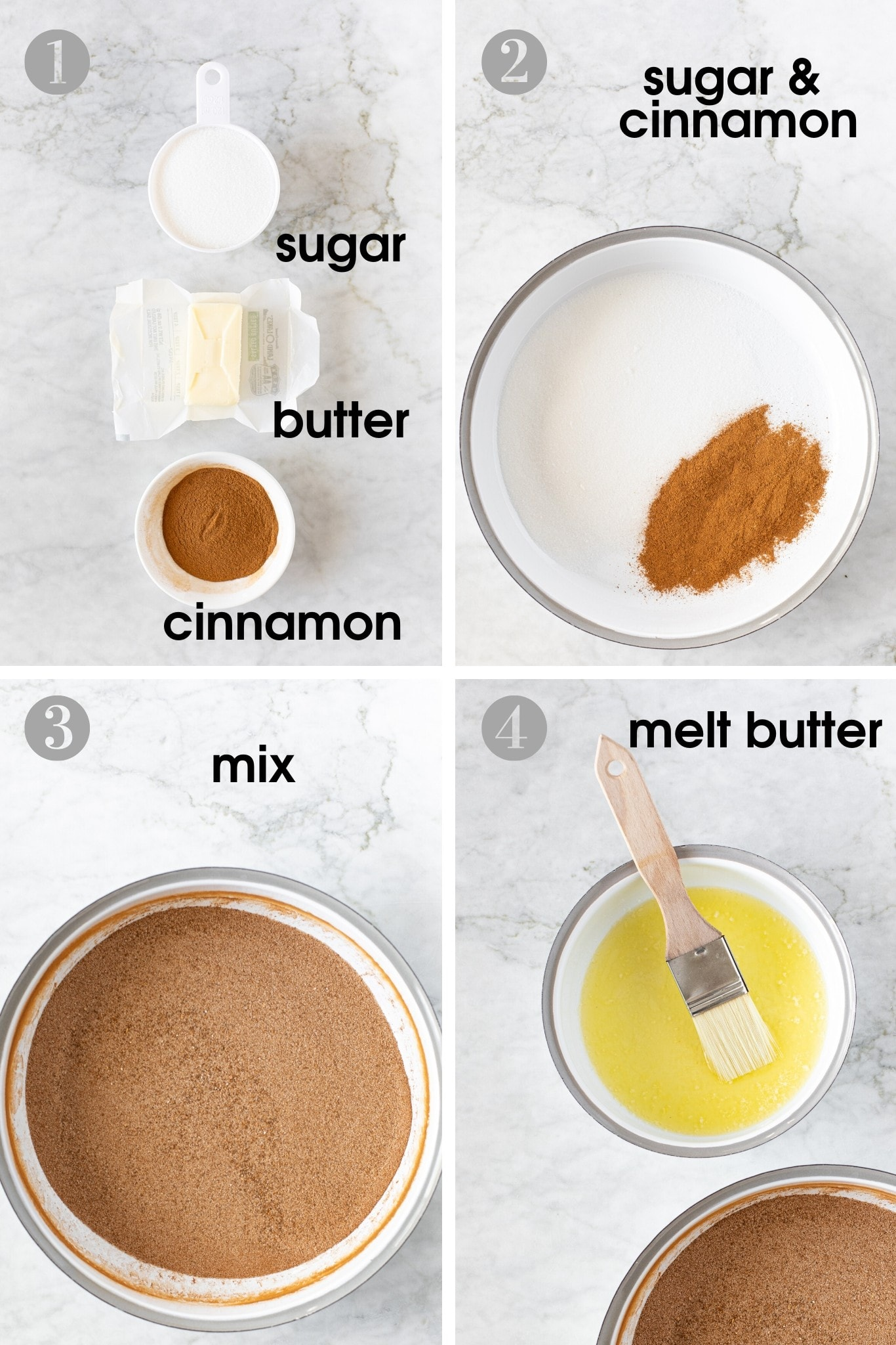 Four photos showing how to make cinnamon sugar pancake dip using sugar, cinnamon and melted butter | verygoodcook.com