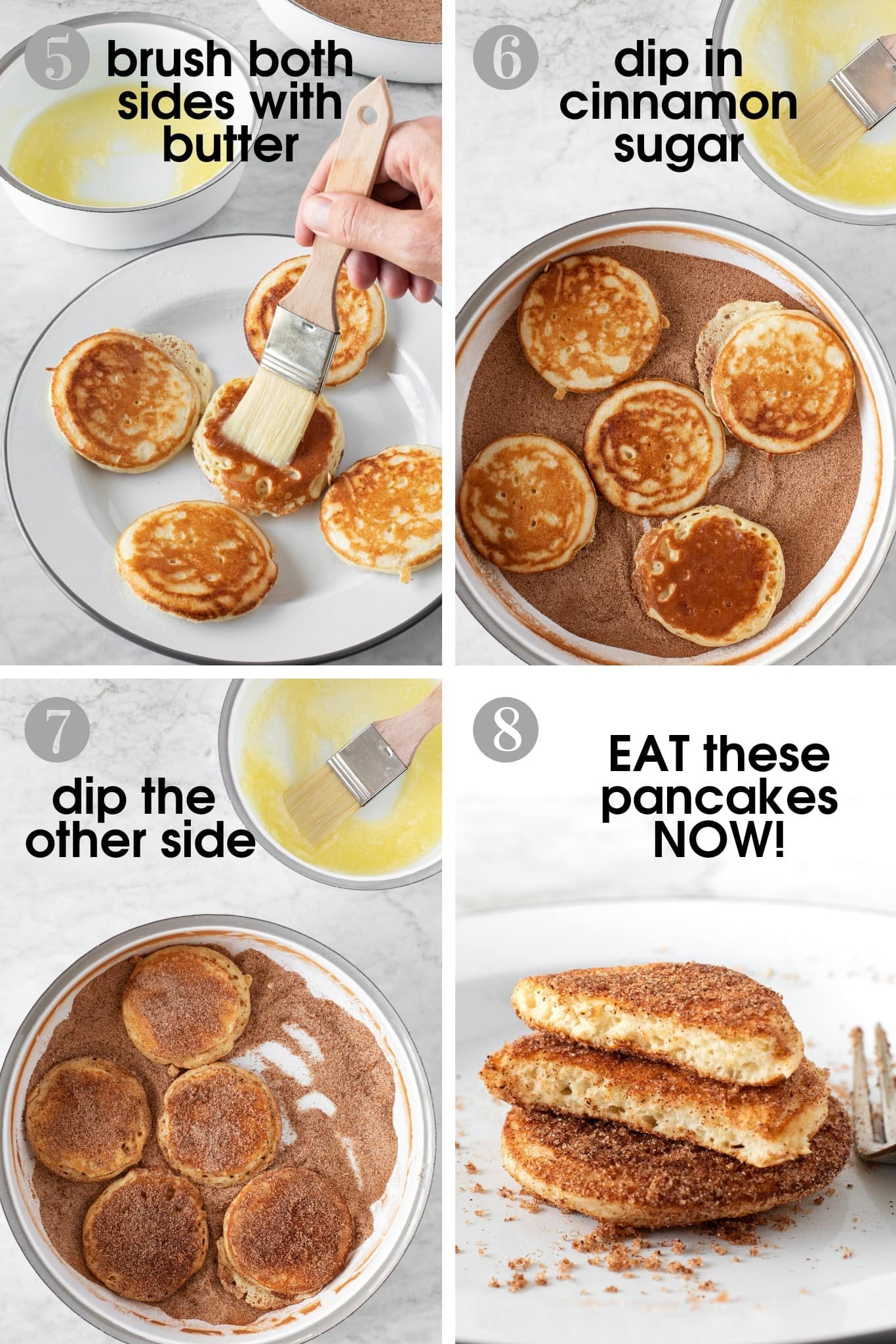 Four photos showing how to brush pancakes with melted butter, dip them in cinnamon sugar, and serve them on a plate | verygoodcook.com