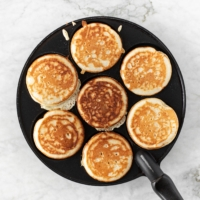 Pancake pan with seven fluffy Bohemian pancakes | verygoodcook.com