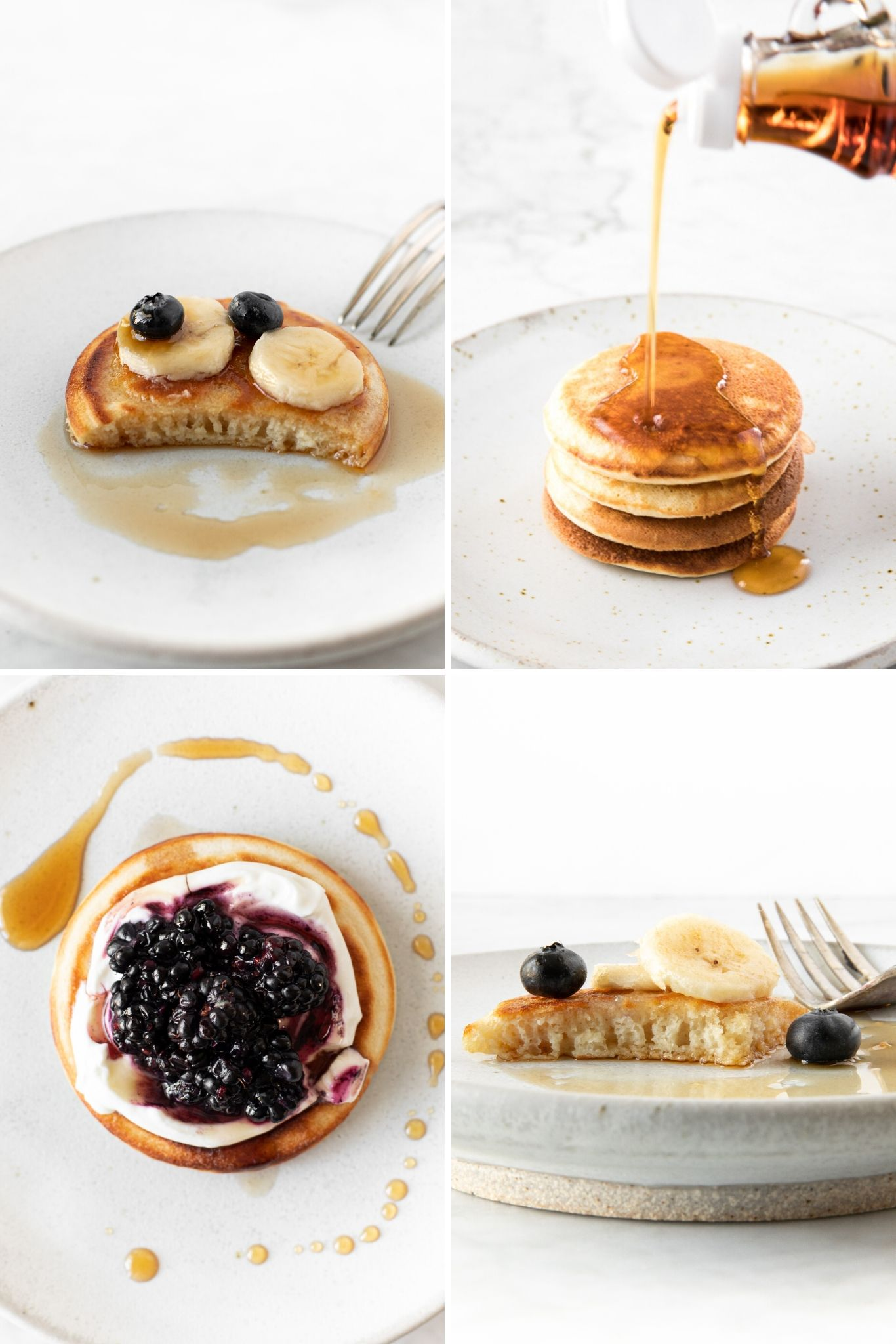 Fluffy Bohemian pancakes served with yogurt and blackberries, maple syrup, bananas and blueberries, and dipped in cinnamon sugar | verygoodcook.com