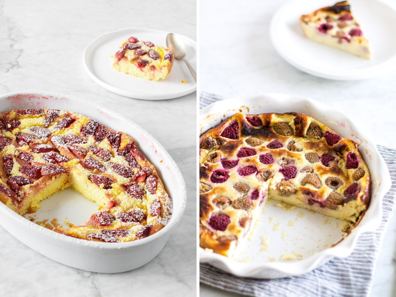 Raspberry Ricotta Soufflé and Strawberry Ricotta Soufflé baked in white 1 quart dishes | verygoodcook.com