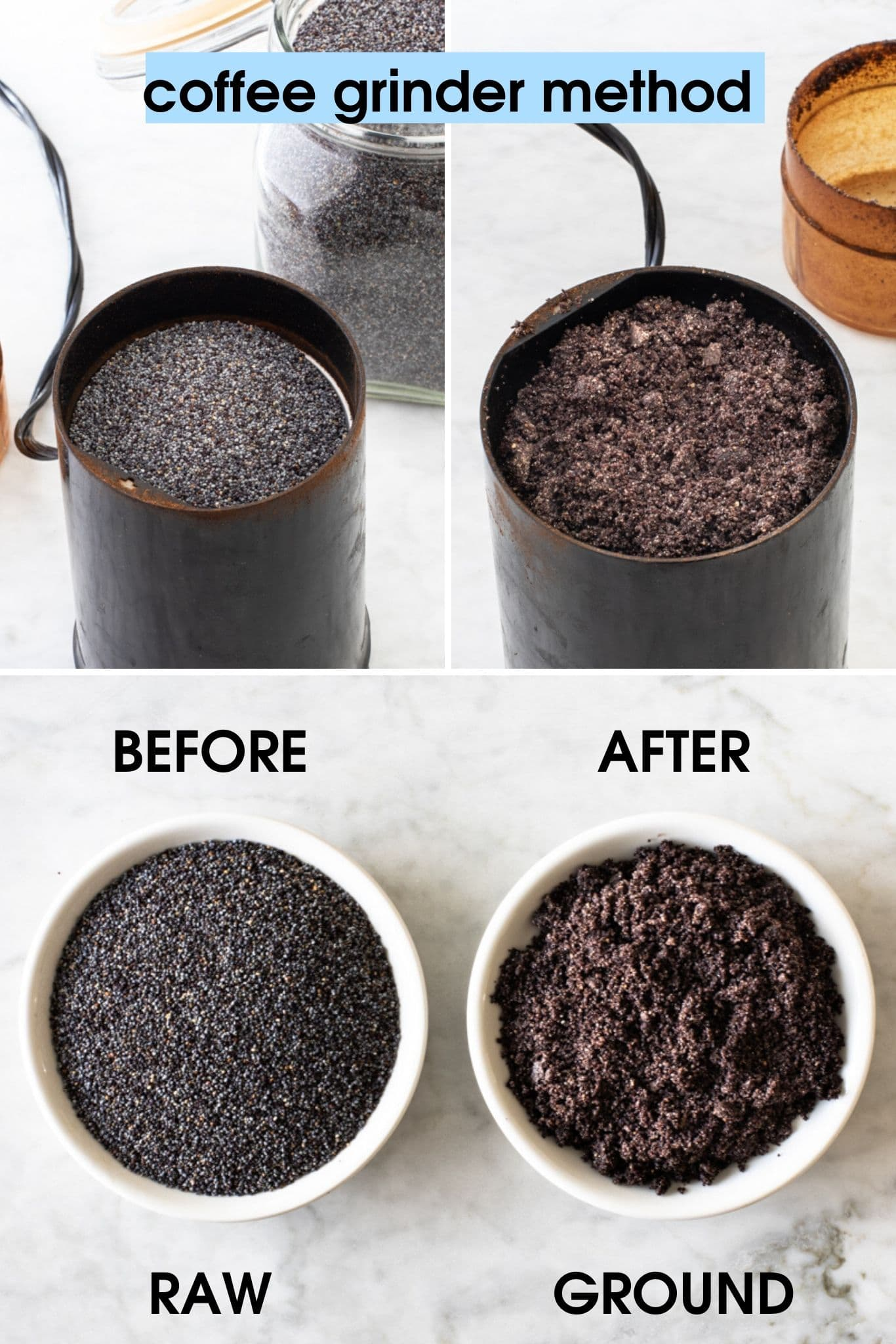 photos showing how to grind poppy seeds in a coffee grinder, showing before and after | from verygoodcook.com
