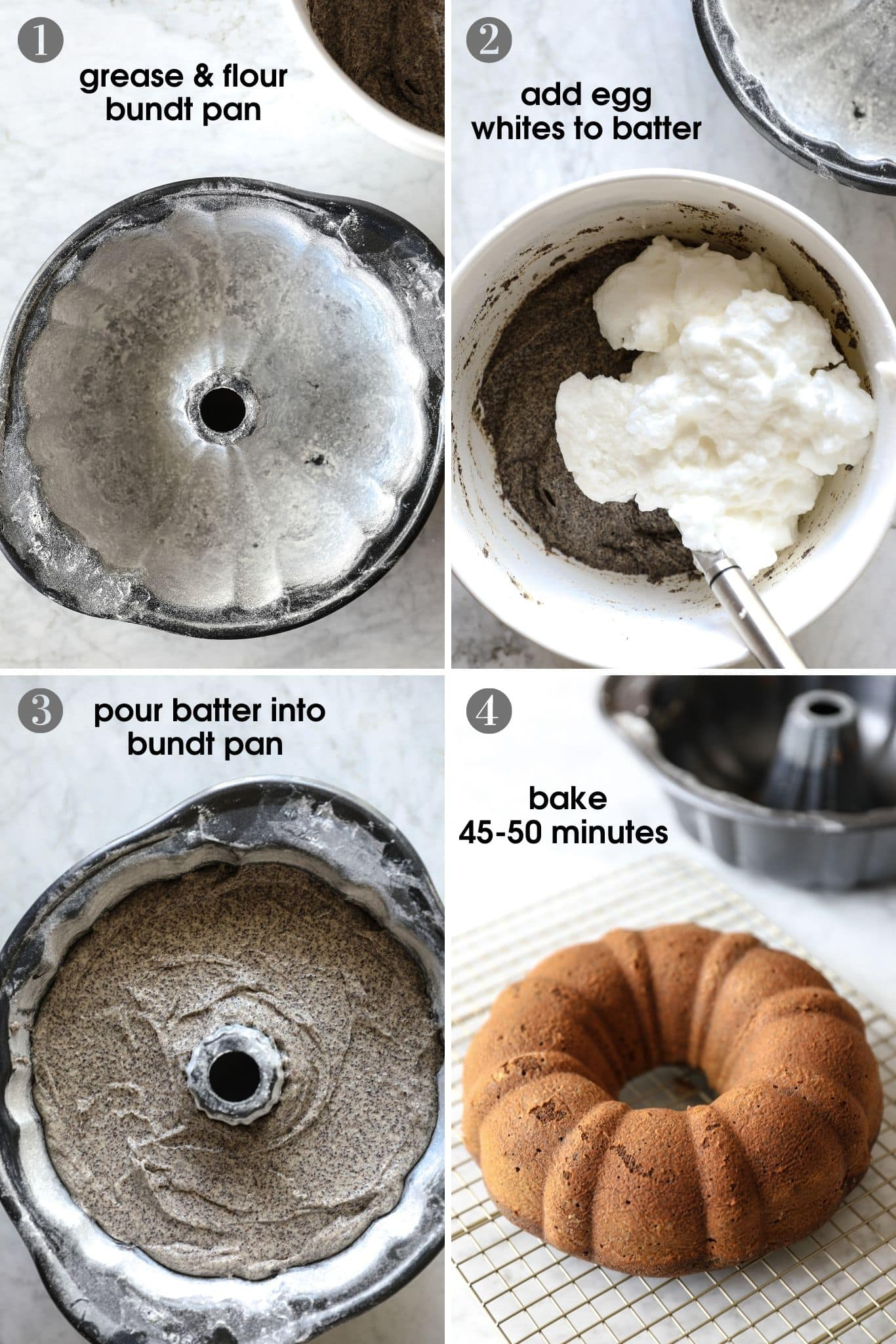 four photos showing a cooking method for poppy seed bundt cake, including how to prep the bundt pan, how to fold egg whites into the batter, placing it into a bundt pan and the finished cake after baking for 45 minutes | from verygoodcook.com