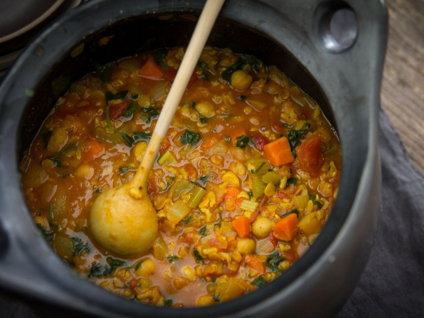 Pot of harira, a North African stew made with chickpeas, lentils, rice and vegetables | from verygoodcook.com