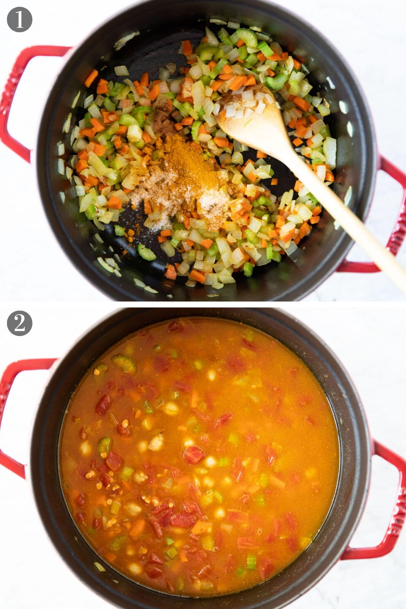 Two photos showing a pot with ingredients for harira, a North African stew made with chickpeas, lentils, rice and vegetables. | from verygoodcook.com