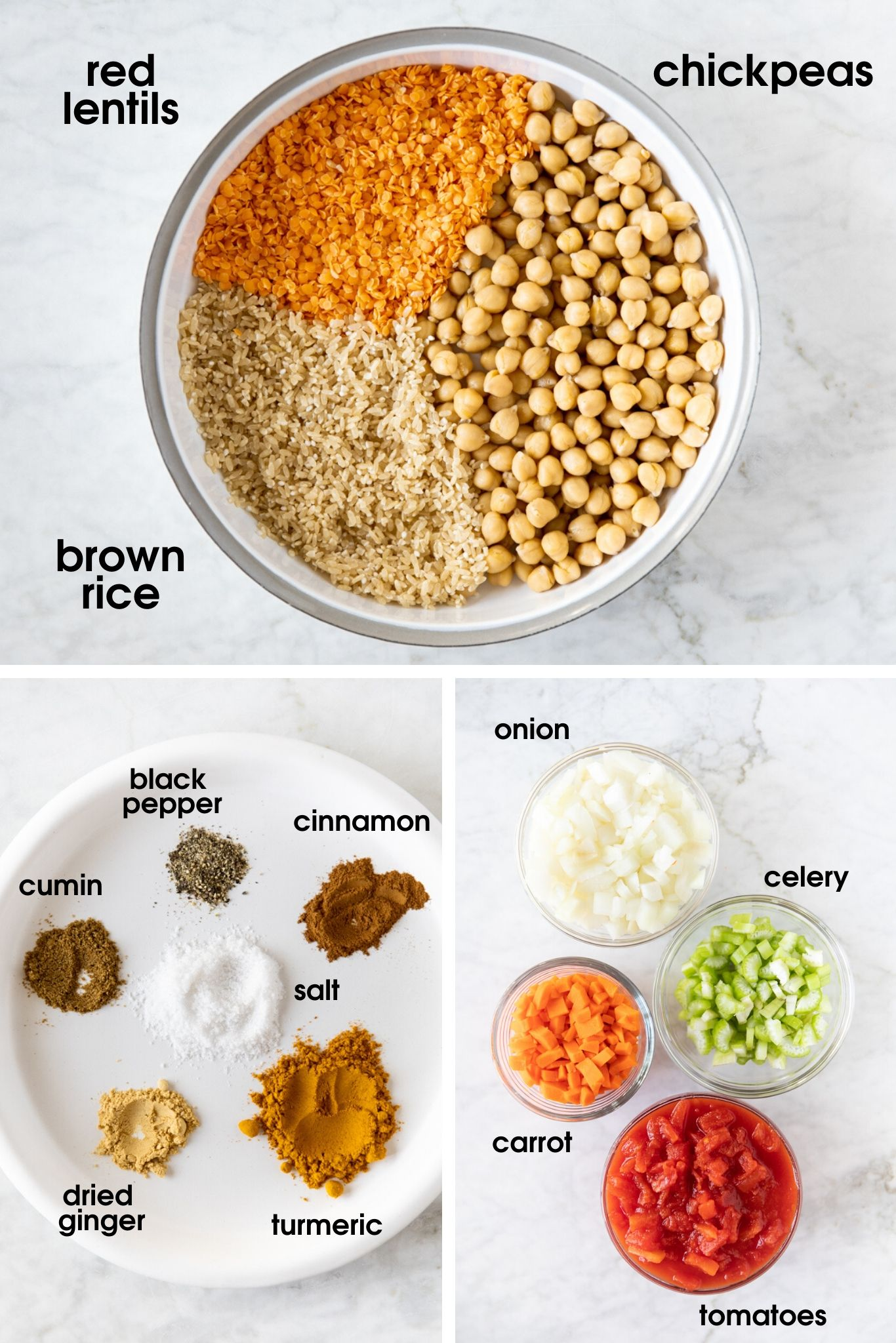 Ingredients to make harira, a North African stew made with chickpeas, lentils, rice and vegetables.| from verygoodcook.com
