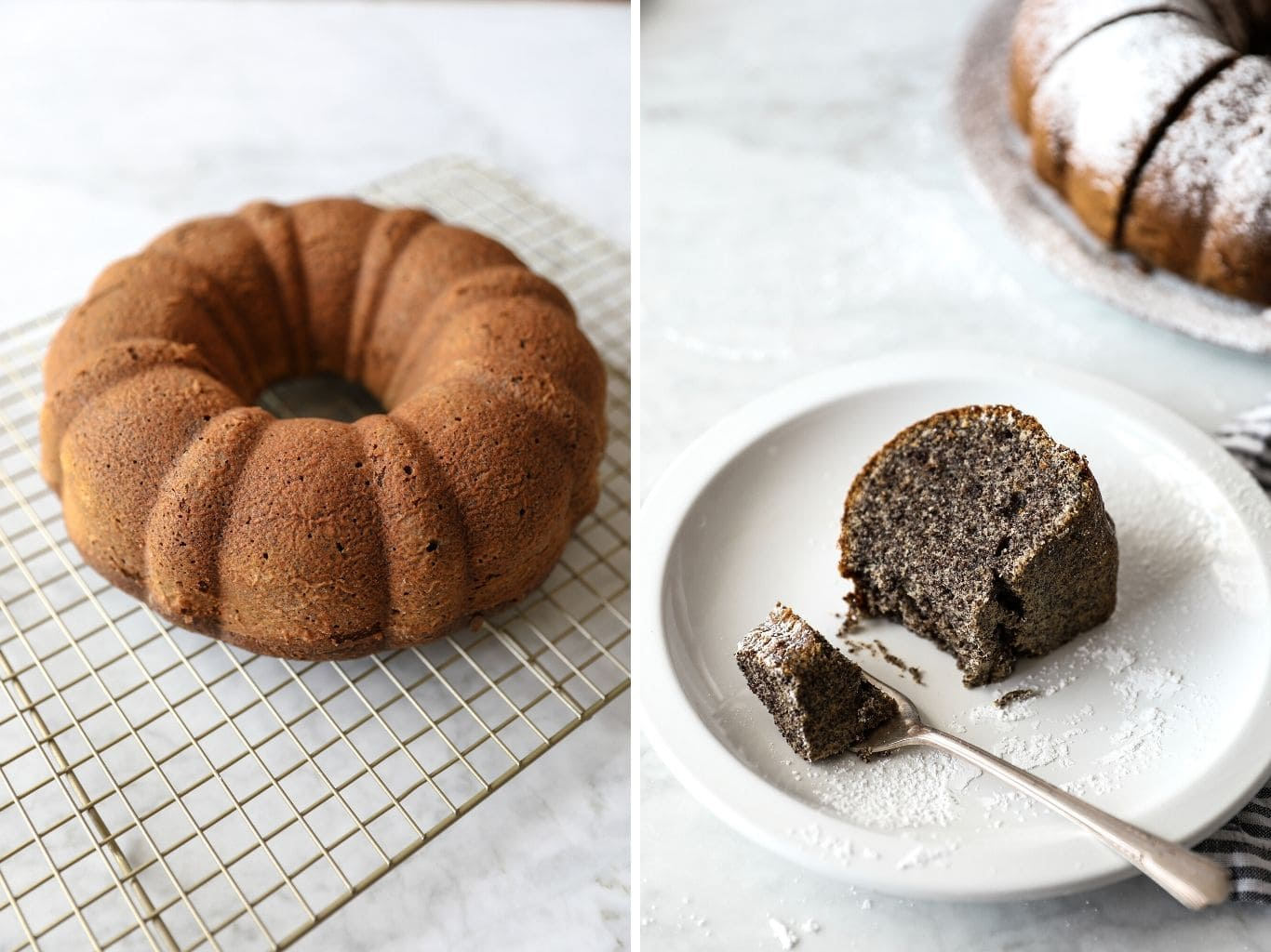 two photos showing whole poppy seed bundt cake, and a slice of this cake on a plate | from verygoodcook.com