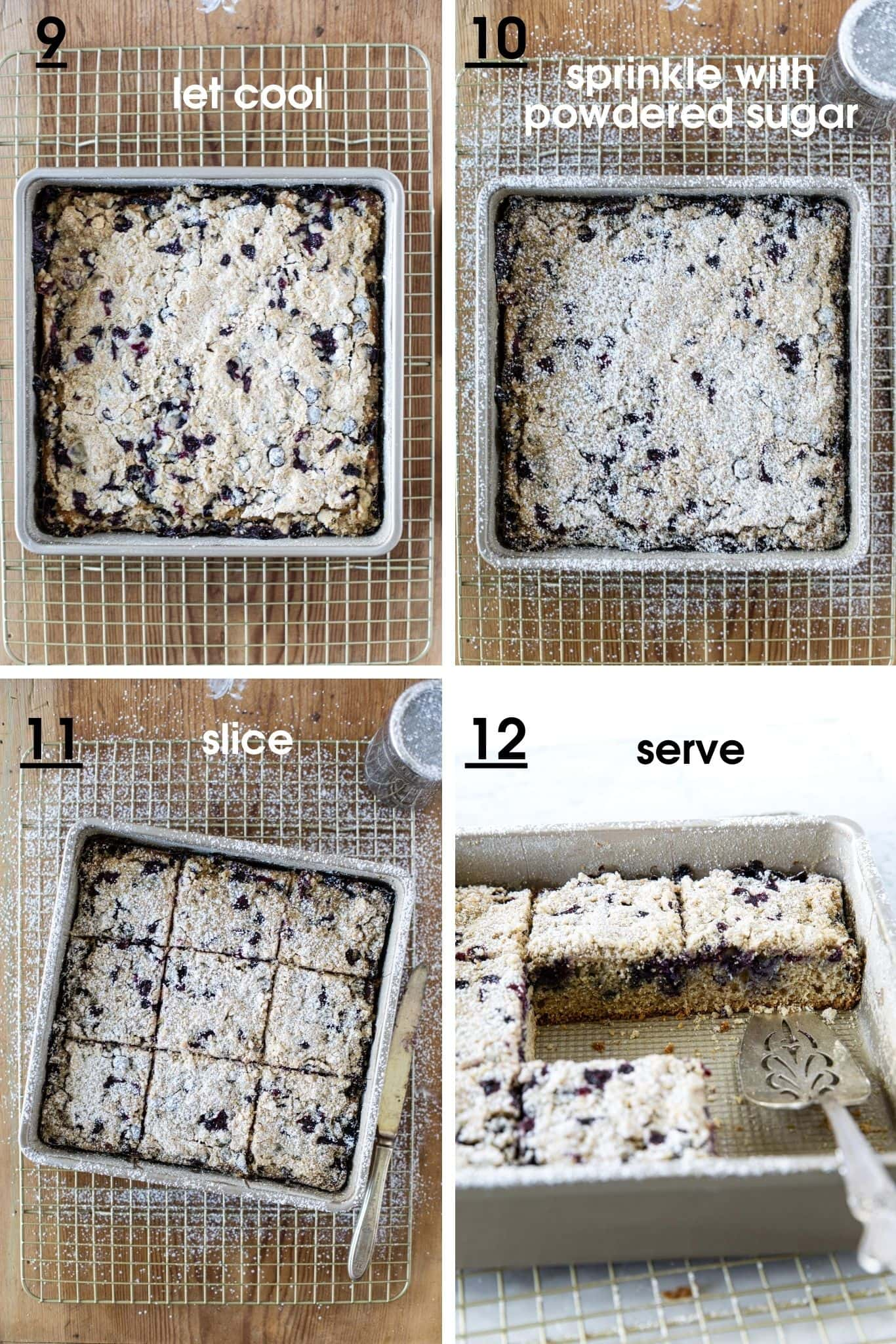 Photos showing how to serve Blueberry Crumb Cake from verygoodcook.com