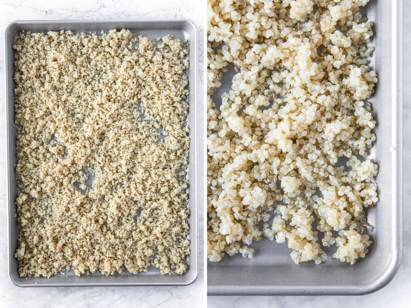 Cooked and prepped quinoa on a metal rimmed baking sheet, ready to be used in a Quinoa Salad With Cherry Tomatoes, Radicchio, and Pistachios from verygoodcook.com