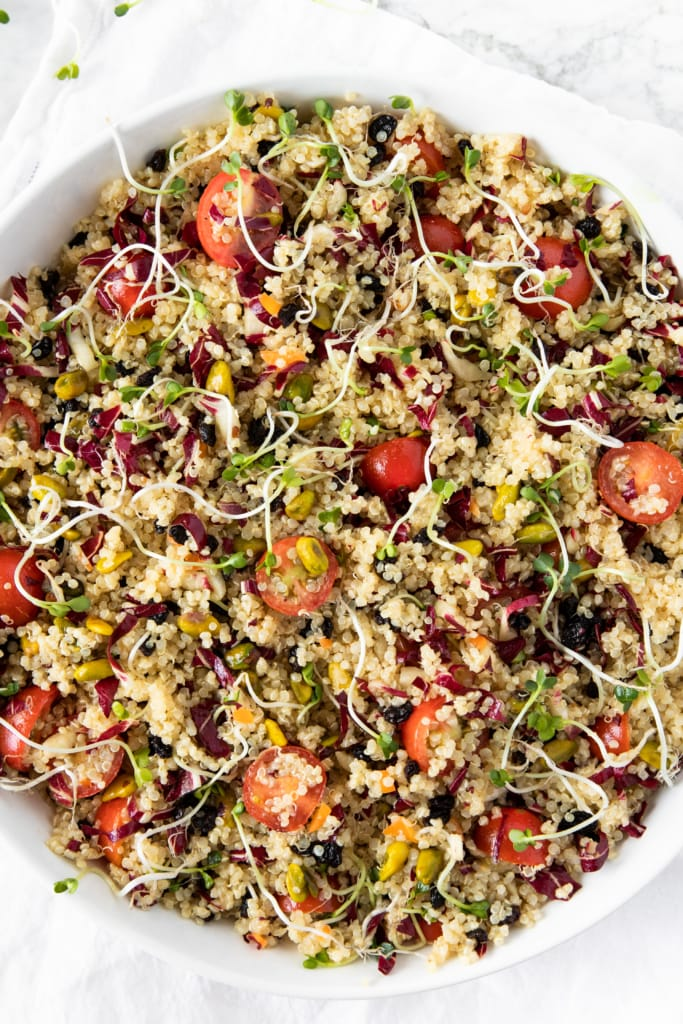 Quinoa Salad With Cherry Tomatoes, Radicchio, and Pistachios from verygoodcook.com