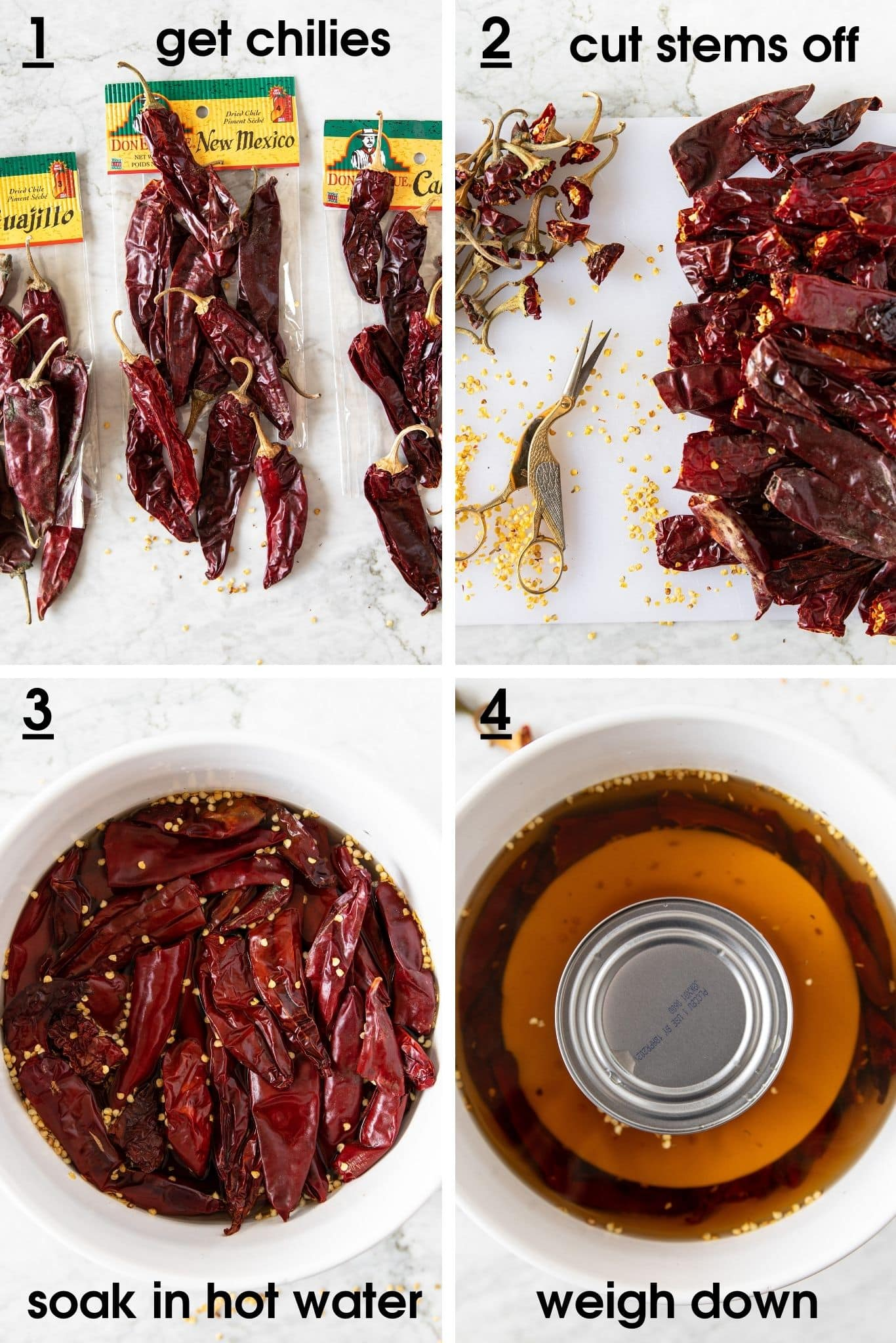 How to trim and soak dried chilies in water for spicy Harissa paste | from verygoodcook.com